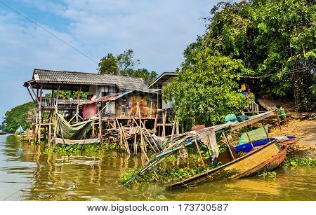 Boats on the Pa Sak River in Ayutthaya - Thailand