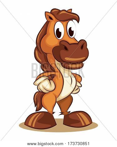 Cartoon Comic Character Mascot Young Standing Horse Pony Logo Vector