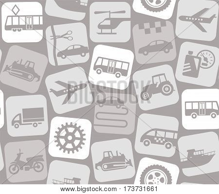 Transport and construction equipment, light gray background, seamless. White, flat icons for auto and public transport on a gray background. Vector background. Transport.
