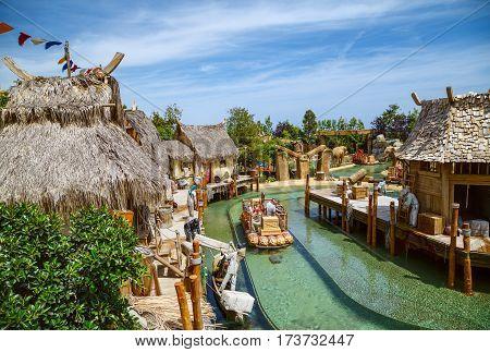 PORT AVENTURA/ SPAIN - MAY 11, 2015. Interactive water attraction Angkor - an imitation of a Cambodian fishing village. Theme Park Port Aventura, Salou, Spain