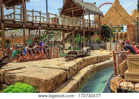 PORT AVENTURA/ SPAIN - MAY 11, 2015. Water guns battle. Interactive water attraction Angkor in theme Park Port Aventura. City of Salou, Spain