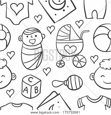 Collection stock of baby doodles vector art