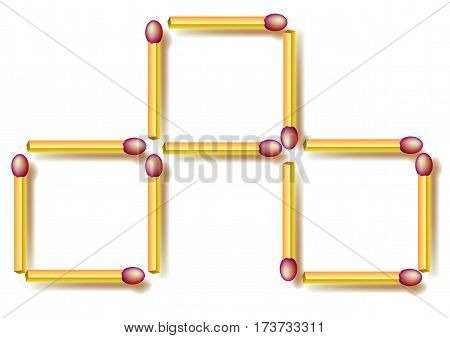 Logic puzzle. Move three matchsticks to make seven squares. Vector image.
