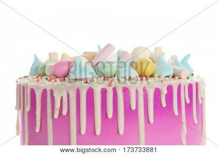 Beautiful Easter cake on white background
