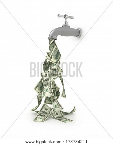 dollar bills falling from water tap financial investments concept. 3d illustration