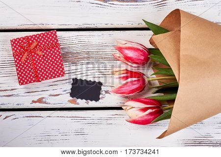 Flowers and red box. Surprise for dear person.