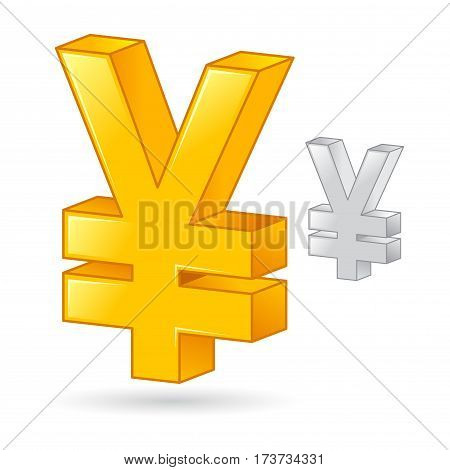Vector stock of a golden and silver Japanese Yen money currency symbol
