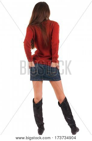 back view of standing young beautiful  woman watching.  blonde girl in jeans and red sweater.  Rear view people collection.  backside view of person.  Isolated over white background.
