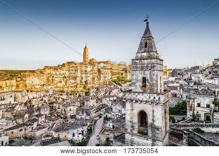 Ancient Town Of Matera (sassi Di Matera) At Sunset, Basilicata, Southern Italy