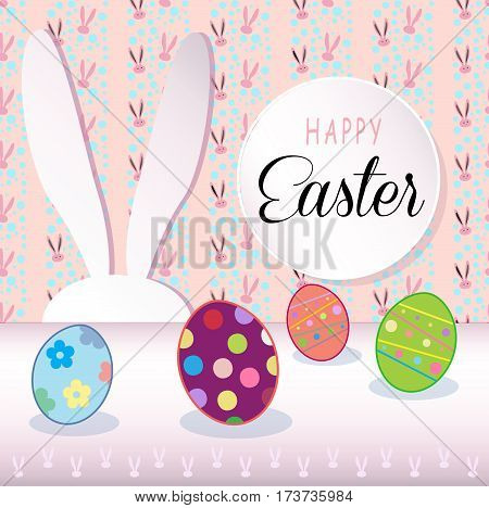 Happy Easter Holiday, Easter Rabbit and Easter eggs, ribbon. Easter Bunny. Greeting card background. Cute Rabbit Flat. Poster. Vector Illustration