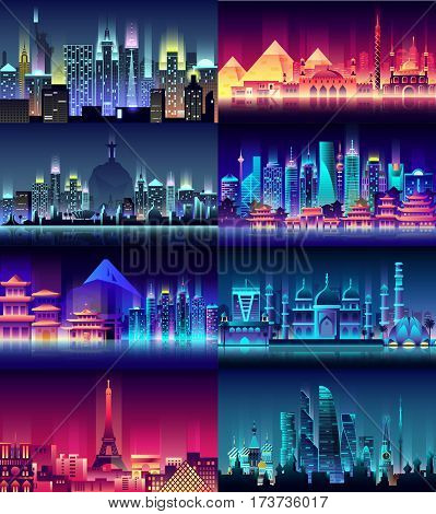 Vector vertical illustration background city night neon style architecture building town country travel Moscow, Russian, capital, France, Paris, Japan, India, Egypt, pyramids, China, Brazil USA