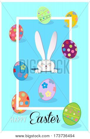 Happy Easter Holiday, Easter Rabbit and Easter eggs, ribbon. Easter Bunny. Greeting card blue background. Cute Rabbit Flat. Vector Illustration, modern style. For Art Print Fashion, Web design Decoration, placard, Web banner, flyer, advertising, marketing