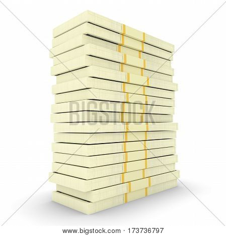 Illustration of big money stack from dollars usa. Finance concepts. 3d render