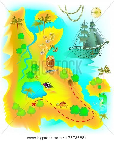 Illustration of map with fantasy Mysterious Island and pirate treasure. Vector cartoon image.