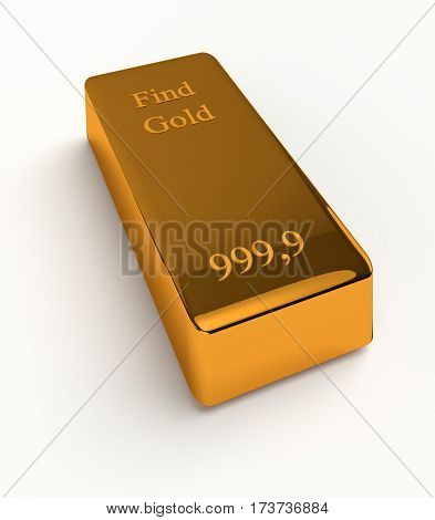Bullions of gold isolated on white background. 3d render