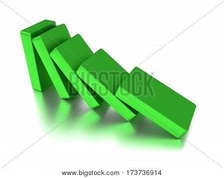 Domino. Conceptual illustration of falling bricks which push each other. 3d render