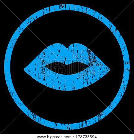 Lips grainy textured icon for overlay watermark stamps. Rounded flat vector symbol with scratched texture. Circled blue ink rubber seal stamp with grunge design on a black background.