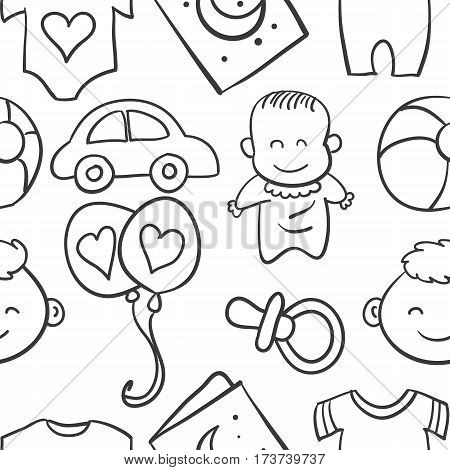 Doodle of element baby collection stock vector art