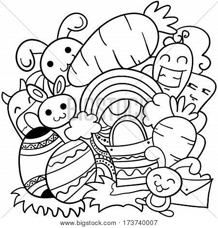 Doodle art of easter theme vector illustration