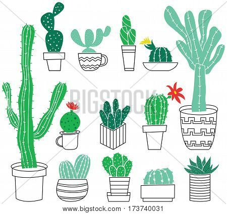Doodle collection of cute potted cactuses. Vector set with tropical and desert plants.