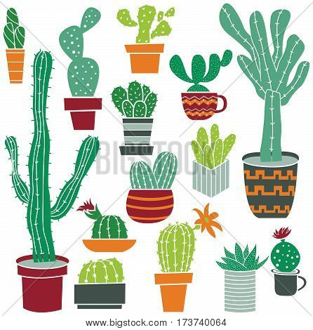 Flat collection of cute potted cactuses. Vector set with tropical and desert plants.