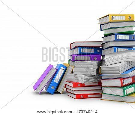 Many colorful folders stacked in a row. Ring binders. 3D illustration.