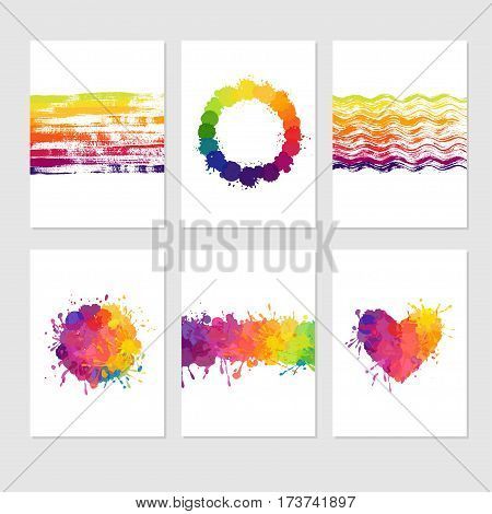 Set of colorful cards with paint stains and splatters. Vector card templates with bright colors.