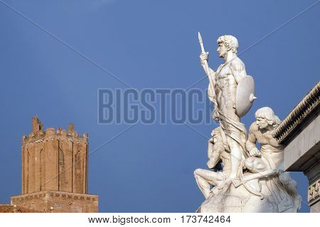 ROME, ITALY - SEPTEMBER 01: Statue of the Strength, monument to Victor Emmanuel II, Altare della Patria. Venice Square, Rome, Italy  on September 01, 2016.