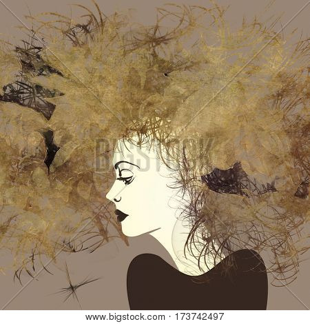 art monochrome sketched beautiful girl face in profile with flowers in curly long hair on sepia background in mixed media style