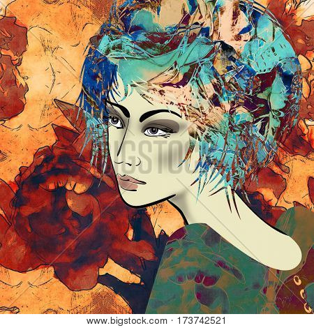 art colorful sketched beautiful girl face in profile with flowers in curly hair on floral background in mixed media style
