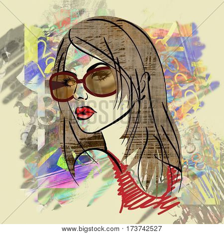 art colorful sketched beautiful girl face in profile with long straight hair on sepia background in grunge mixed media style