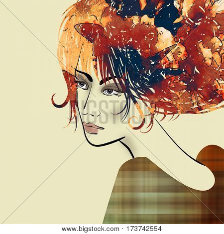 art colorful sketched beautiful girl face in profile with orange, red, brown and black flowers in curly hair on sepia background in mixed media style