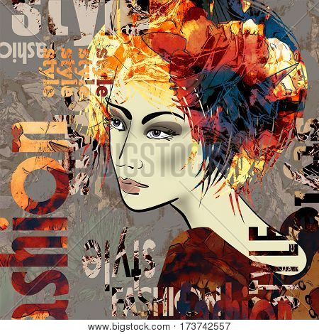 art colorful sketched beautiful girl face in profile with flowers in orange, red, brown and black hair on grey background in mixed media style with word fashion, style, model