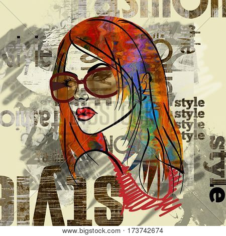 art colorful sketched beautiful girl face in profile with long straight hair on sepia background in grunge mixed media style with words style, fashion, model