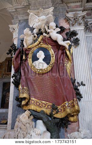 ROME, ITALY - SEPTEMBER 02: Tomb of Maria Flaminia Odescalchi Chigi in Church of Santa Maria del Popolo, Rome, Italy on September 02, 2016.