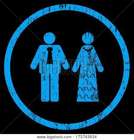 Newlyweds grainy textured icon for overlay watermark stamps. Rounded flat vector symbol with scratched texture. Circled blue ink rubber seal stamp with grunge design on a black background.