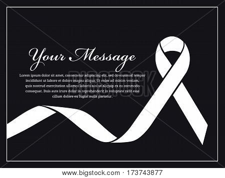 Funeral card - White ribbon and place for text vector design