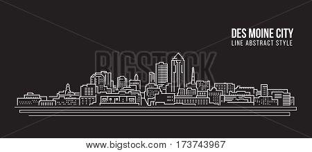 Cityscape Building Line art Vector Illustration design - Des moine city