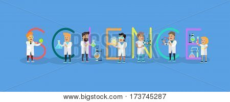 Science conceptual vector. Flat style design. Scientist characters with lab instruments and educational models. Practical science innovations. Laboratory tests and demonstration. On blue background