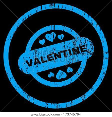Valentine Stamp Seal grainy textured icon for overlay watermark stamps. Rounded flat vector symbol with scratched texture. Circled blue ink rubber seal stamp with grunge design on a black background.