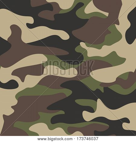Camouflage pattern background. Classic clothing style masking camo repeat print. Green brown black olive colors forest texture. Design element. Vector illustration.