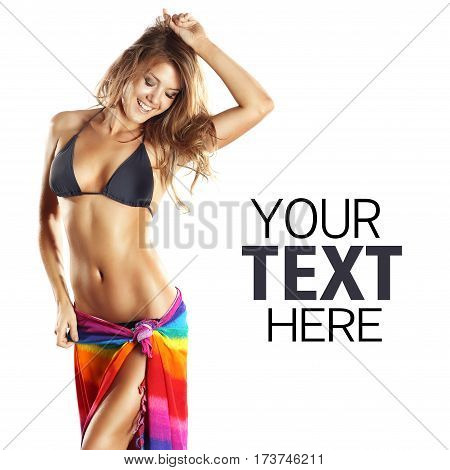 Sexy Bikini Girl with scarf belt with text isolated