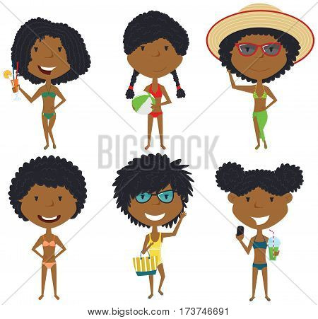 Beach female characters vector illustration. African-American summer girls standing with refreshing drinks ball with beach bag make a selfie. Vector flat style kids isolated in white background.