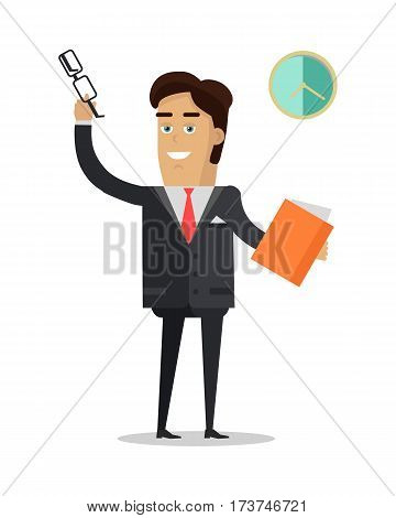 Man put off his glasses, raised hand and greeting his colleagues. Man holds book in his hands. Middle of the working day. Male in expensive suit works in office. Marketing concept. Vector illustration