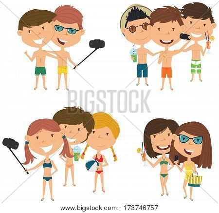 Beach male and female characters make a selfie vector illustration. Happy cute girls and boys do group summer photos. Friendly children posing in front of the camera smartphone.