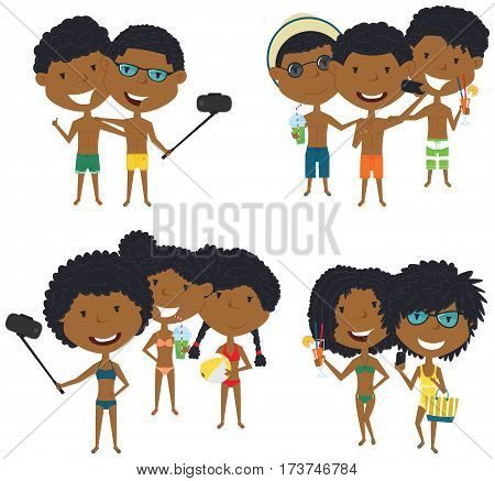 Beach African-American male and female characters make a selfie vector illustration. Happy cute girls and boys do group summer photos. Friendly children posing in front of the camera smartphone.