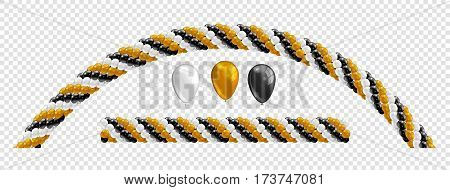 Garlands of balloons. Golden white black colors balloons line and arch. Arch of balloons. Gold black white balloon set. Vector objects on transparent background