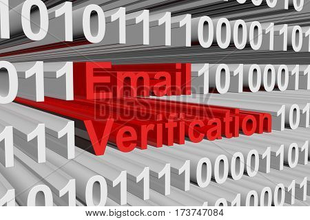 email verification in the form of binary code, 3D illustration