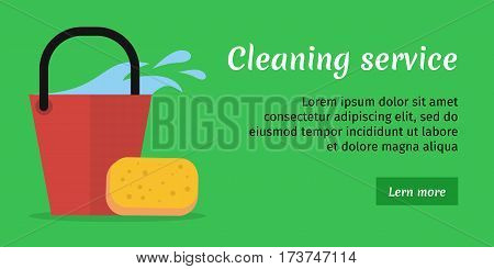 Green cleaning service banner with red bucket of water and sponge. House cleaning service, professional office cleaning, home cleaning, domestic cleaning service illustration in flat. Website template