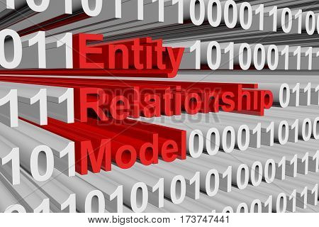 entity relationship model is represented as a binary code 3d illustration